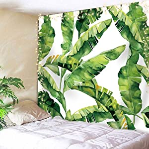 AMBZEK Green Tropical Tapestry 51Hx59W Inch Palm Leaves Plant Summer Banana CoconutBotanical Nature Artwork Wall Hanging Bedroom Living Room Dorm Decor Fabric