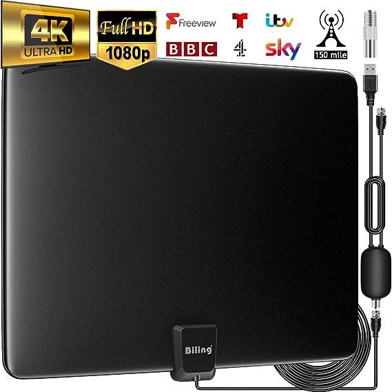 Biling Antena TV Interior- Antena TV portátil HD TV Digital 120 Millas con Amplificador de señal Inteligente para Canales de TV gratuitos Soporte 4K ...