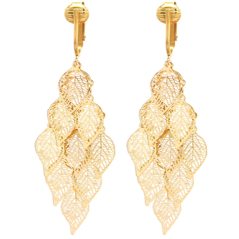 Aloha Earrings Beautiful Dangle Clip On Earrings for Women, Bohemian Drop Butterfly, Dragonfly, Leaves, Flowers (Gold Tone Leaves) by Aloha Earrings