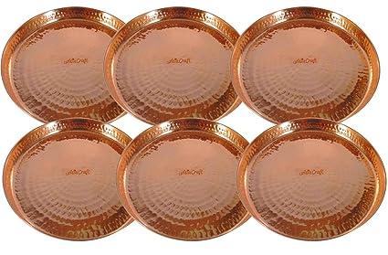 AsiaCraft Indian Dinnerware Pure Copper Thali Plate Diameter 12 Inch Set Of 6- Diwali & Buy AsiaCraft Indian Dinnerware Pure Copper Thali Plate Diameter 12 ...