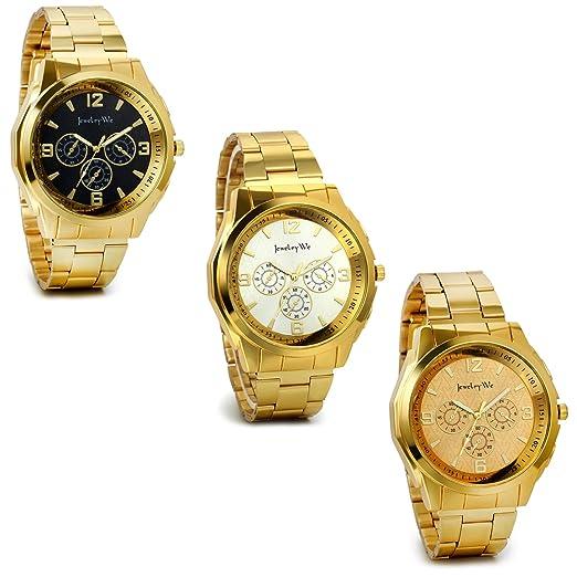Regalo de papá Día del padre Jewelrywe 3pcs Relojes dorados, reloj de caballero cuarzo,
