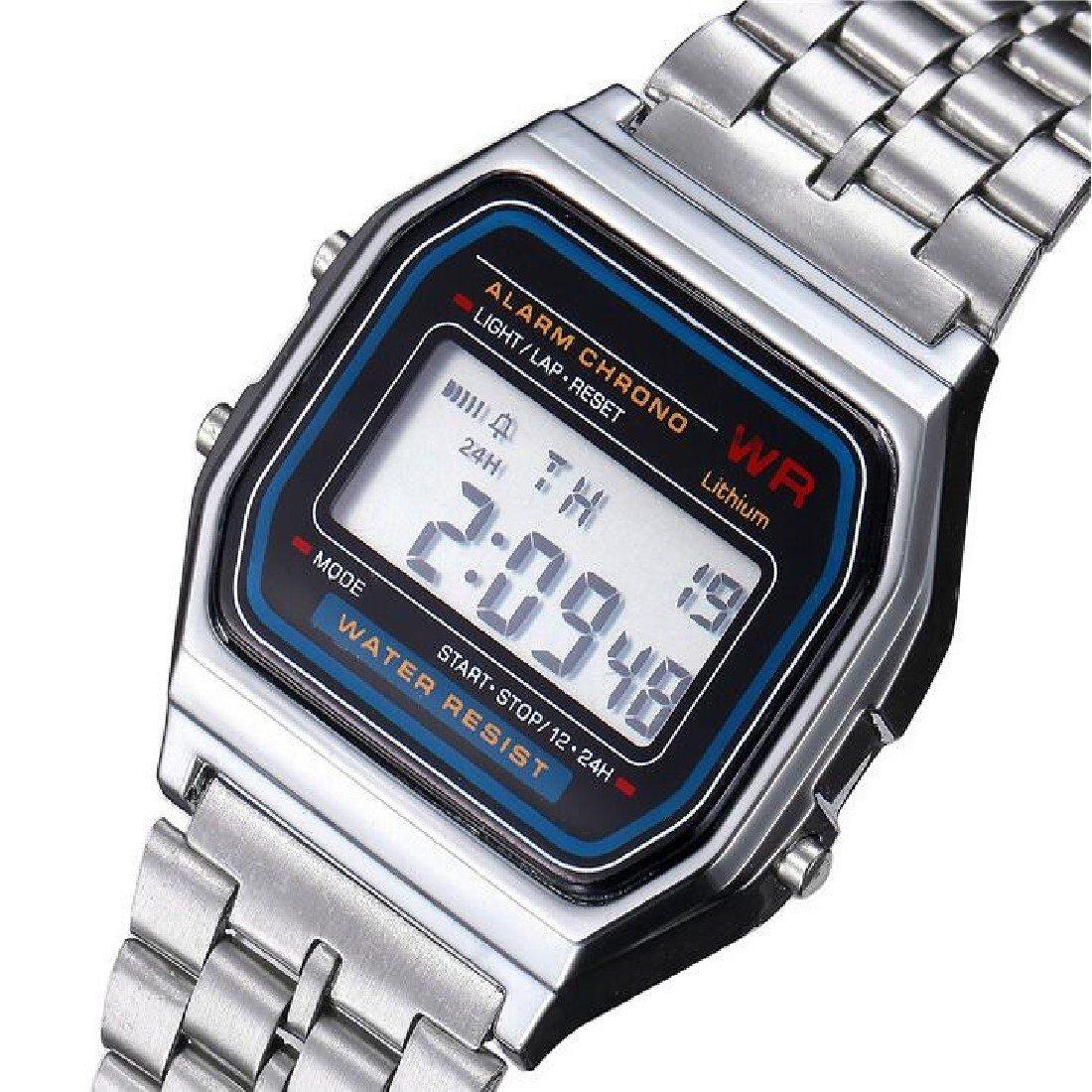 Vintage para Mujer Hombres Square Dial reloj de pulsera LED Digital reloj despertador plata: Amazon.es: Relojes