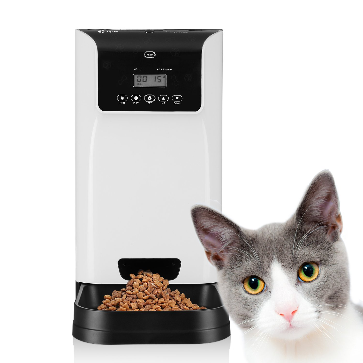 Petera Smart Feeder, Automatic Pet Feeder for Dog and Cat,6L large volume, Digital Clock,LCD Screen Diplay and Sound Recording