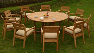 "discountteakoutdoorfurniture 11 PC A Grade Outdoor Patio Teak Dining Set - 72"" Round Table & 10 Vellore Stacking Arm Chairs"