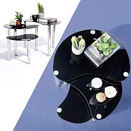 HOMY CASA Coffee Table with Extra Thick Glass Top Coffee Table with Silver Tube Black