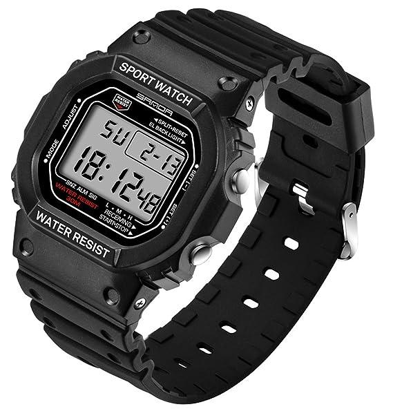 De luz de fondo LED Digital reloj deportivo jóvenes Casual par relojes niñas negro + blanco: Amazon.es: Relojes