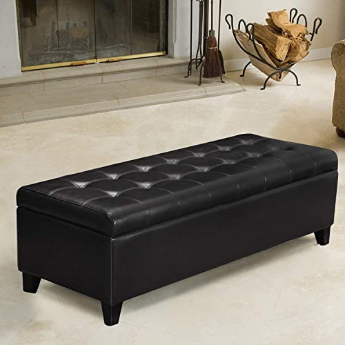 Black Faux Leather Tufted Storage Bench Ottoman with Hinged Lid, Rectangular