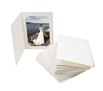 Golden State Art Acid Free Photo Folders For 5x7 Or 4x6 Picture Pack Of 50 Ivory Cardboard Paper Frames Great For Portraits And Photos Special