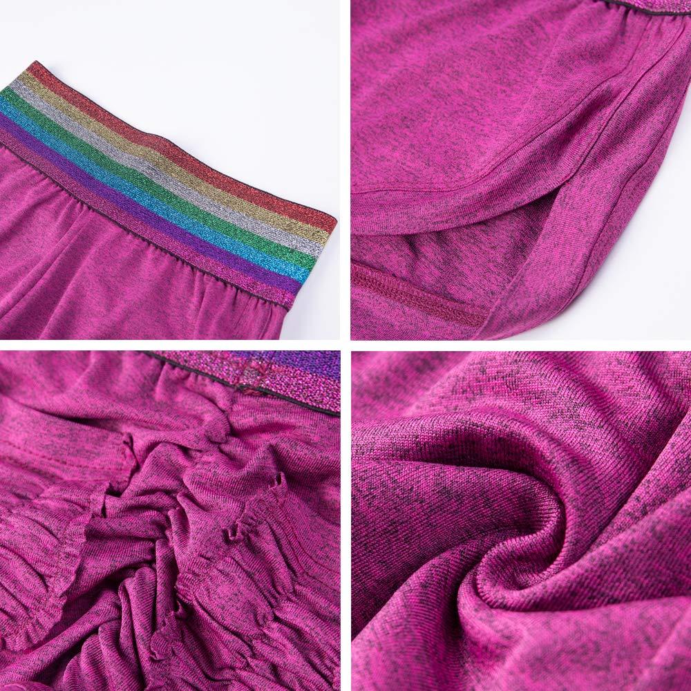Meet Nice Damen Regenbogen-gestreifte Tasche dehnbar hohe Taille ger/üscht Laufen Yoga f/ür Workout
