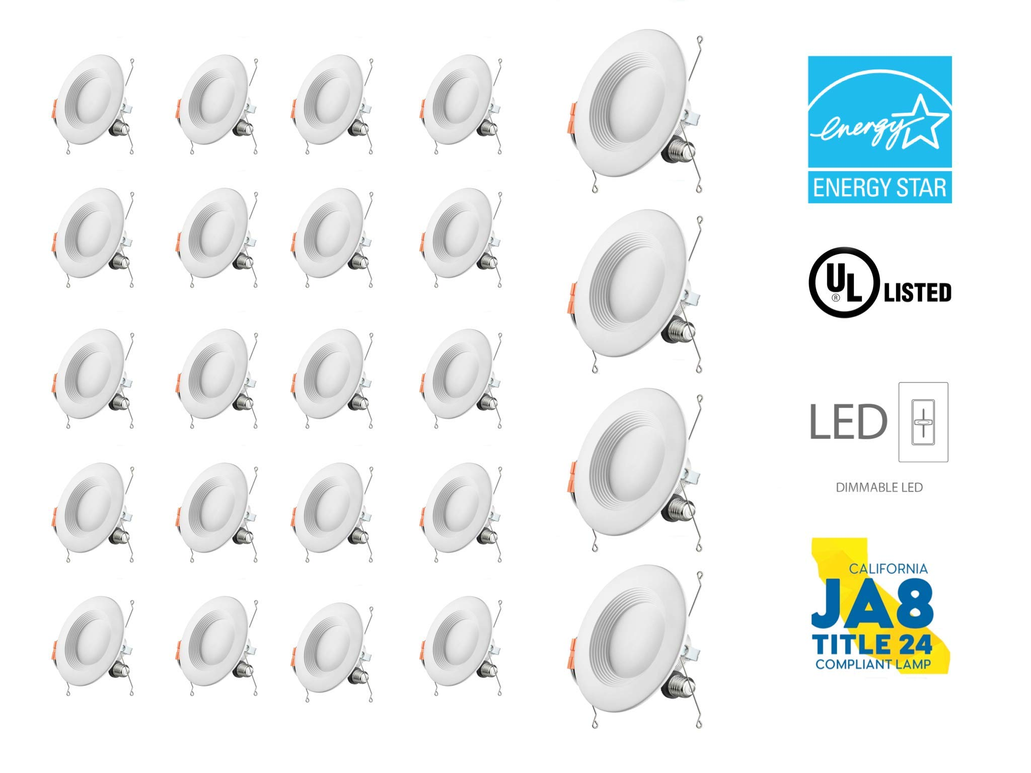 Dynamics 6 Inch Baffle Trim LED Downlight, Dimmable, 15W (120W Equivalent), Retrofit LED Recessed Fixture, CRI90, Energy Star Ceiling Light - Great for Bathroom, Kitchen, Office (5000K, 24 Pack)