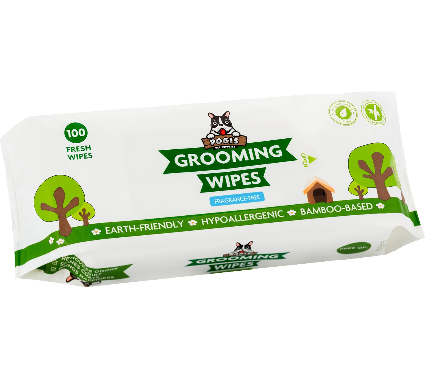 Pogi's Grooming Wipes - 100 Deodorizing Wipes for Dogs & Cats - Large, Hypoallergenic, Fragrance-Free