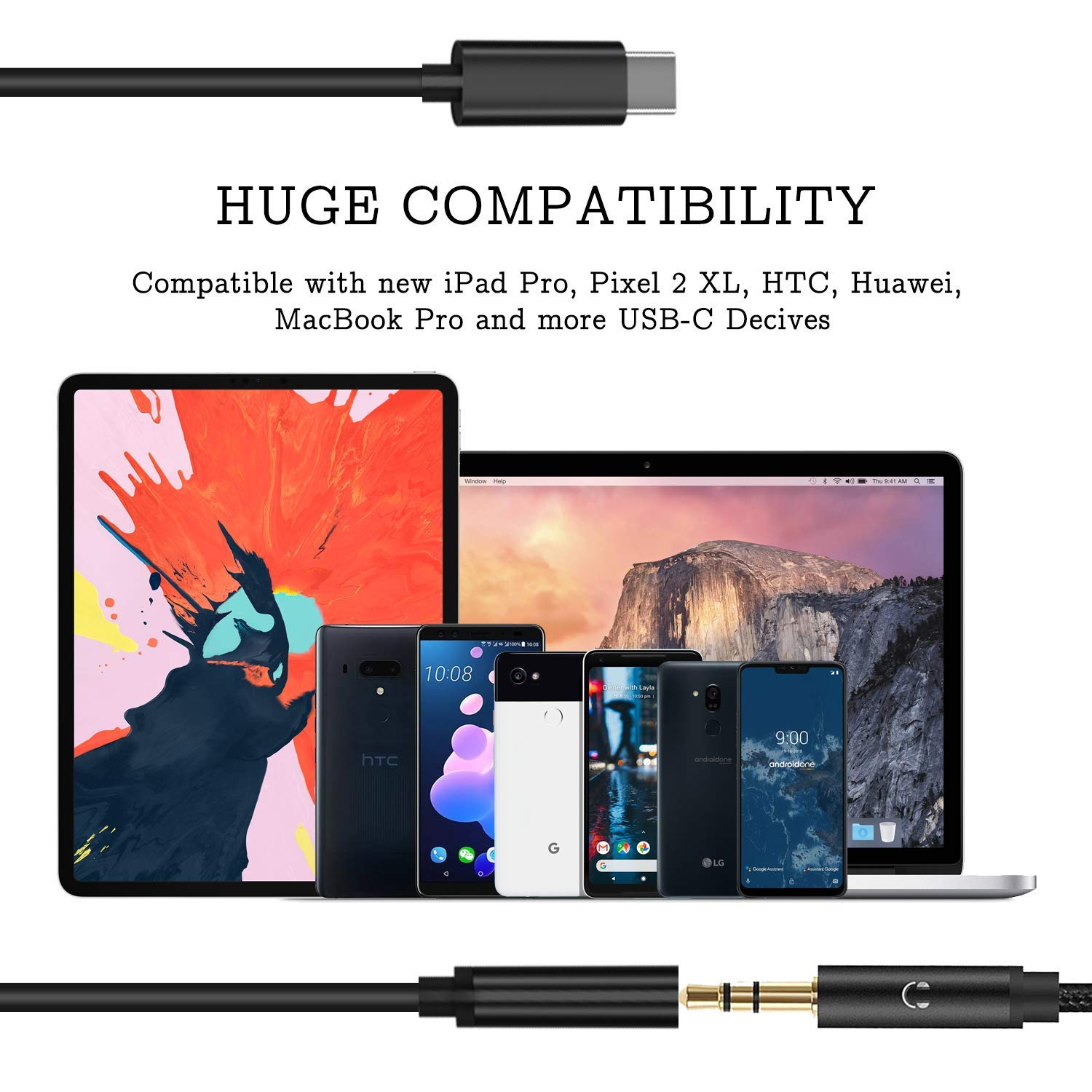 Type C Audio Adapter Cable with DAC Chip//Hi-Res Compatible with New i Pad Pro 2018//Pixel 3 2 XL//Huawei Mate 20 /& P20 Pro CASRO USB-C to 3.5mm Headphone Jack Adapter Compatible for Pixel 2 3 XL