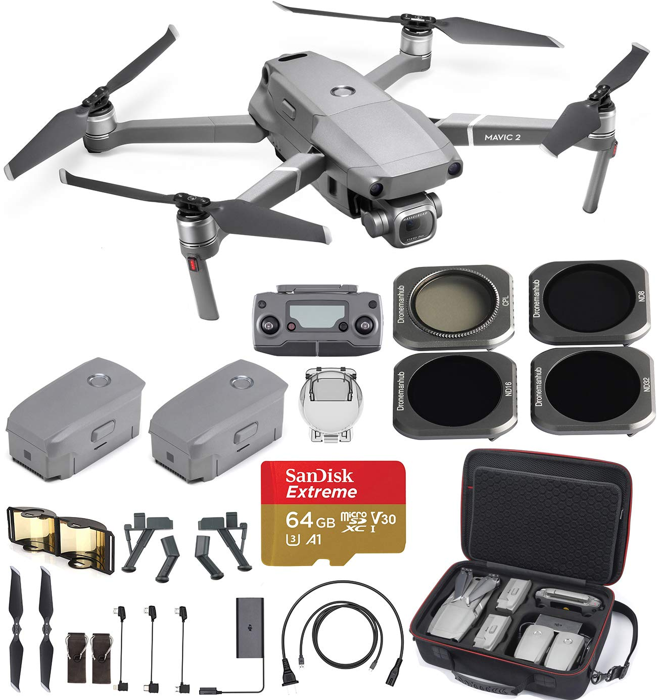 DJI Mavic 2 Pro with 20MP Hasselblad Camera, Comes with One Extra Battery, Hard Professional Case, ND Filter Set, Extreme SD card and More by DJI