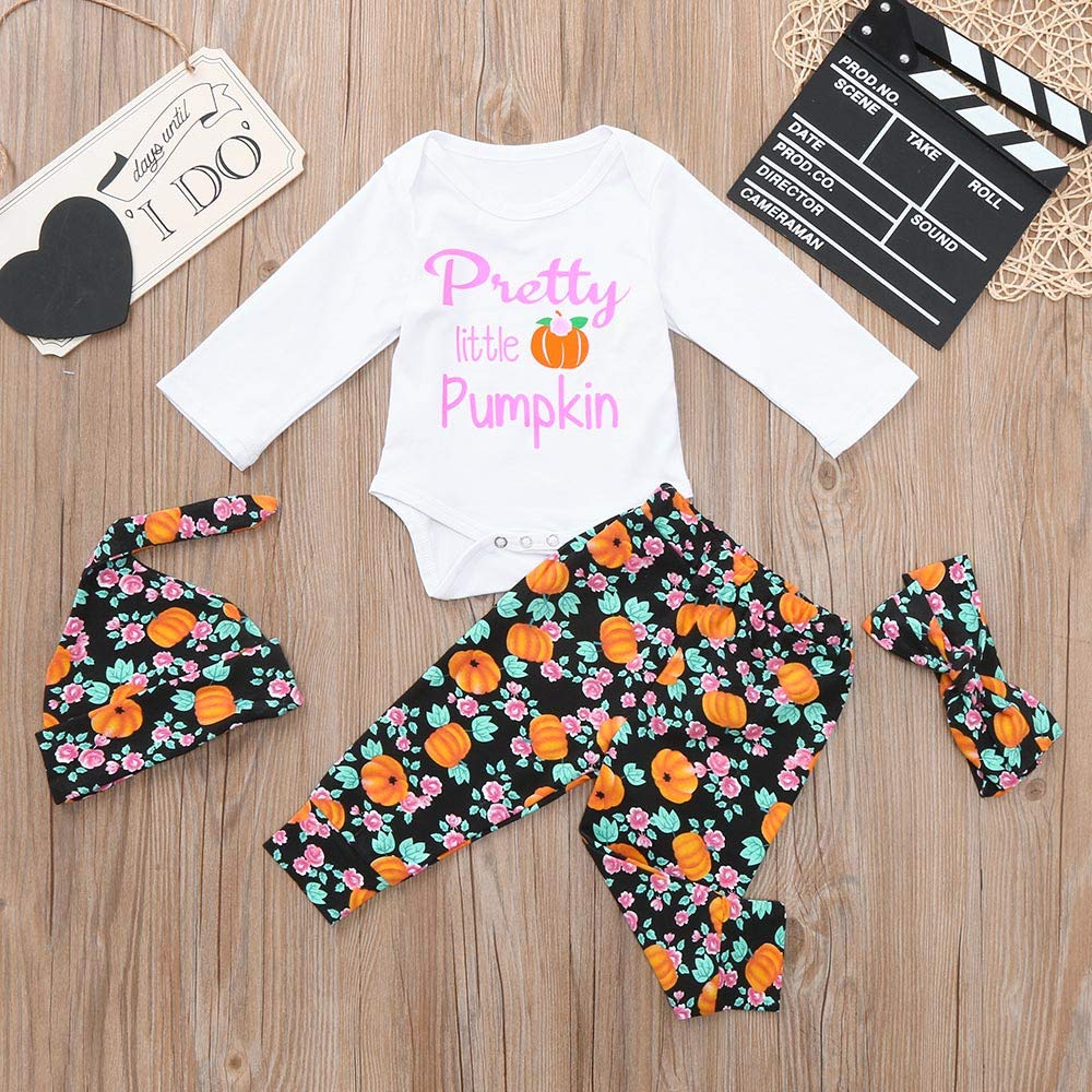 WARMSHOP No Shipping 4Pcs Toddler Girls Boys Letter Pumpkin Pattern Romper+Floral Print Long Pants+Baby Hat+Headbands