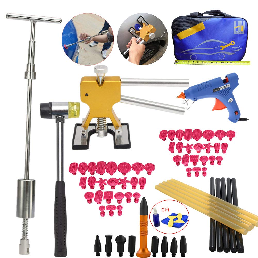 VTOLO Paintless Dent Repair PDR Kit- Dent Lifter Puller Grip PRO Slide Hammer Auto Body Removal Tool with Dent Hammer Tab Down Tools 100W Glue Gun