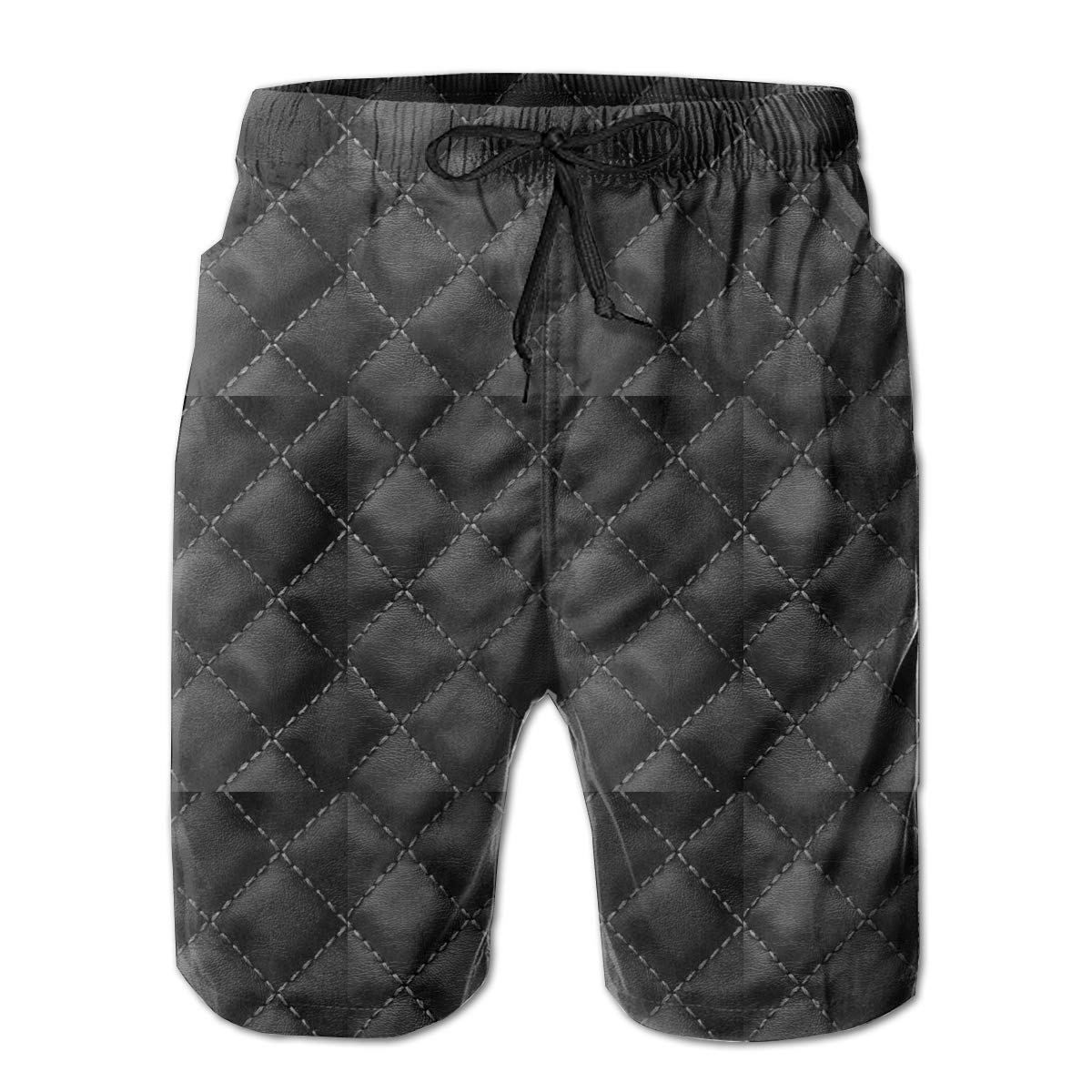 Black Leather Pattern Mens Beach Shorts Casual Classic Bathing Suit
