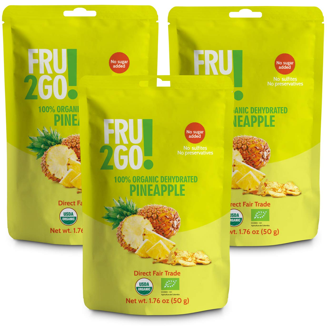 Fru2Go Organic, Dehydrated Pineapple Slices - 1.76 oz (Pack of 3) - No Sugar Added - All-Natural Pineapples - Raw - Direct Fair Trade Fruit - from Colombia by Fru2Go (Image #1)