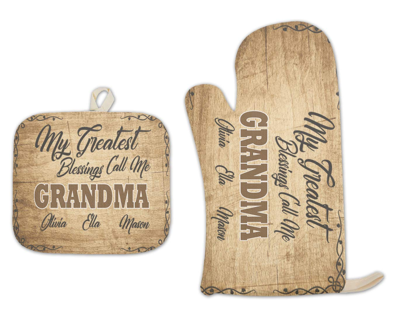 BRGiftShop Personalized Custom Name My Greatest Blessings Call Me Grandma Linen Oven Mitt and Potholder Set