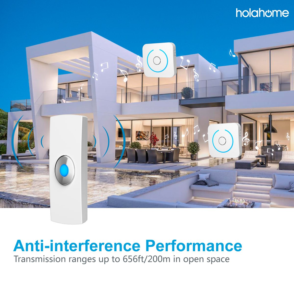 Holahome Wireless Doorbell - Waterproof Portable Door Bell Chime Kit Push Button with 2 Portable Receivers 32 Melodies Wireless Door Alarm Chime Long Range Battery Operated for Home Office White by holahome (Image #5)
