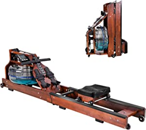Foldable Wood Water Rowing Machine for Home Use Classic Wood Water Rower with LCD Bluetooth Monitor, Water Resistance Wood Rower Home Exercise Equipment, Soft Seat, Home Fitness Workout