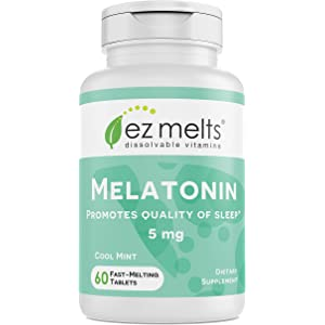 EZ Melts Melatonin for Sleep, 5 mg, Sublingual Vitamins, Vegan, Zero Sugar