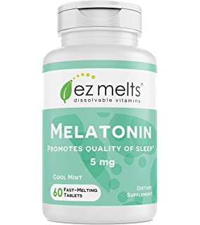 EZ Melts Melatonin for Sleep, 5 mg, Sublingual Vitamins, Vegan, Zero Sugar