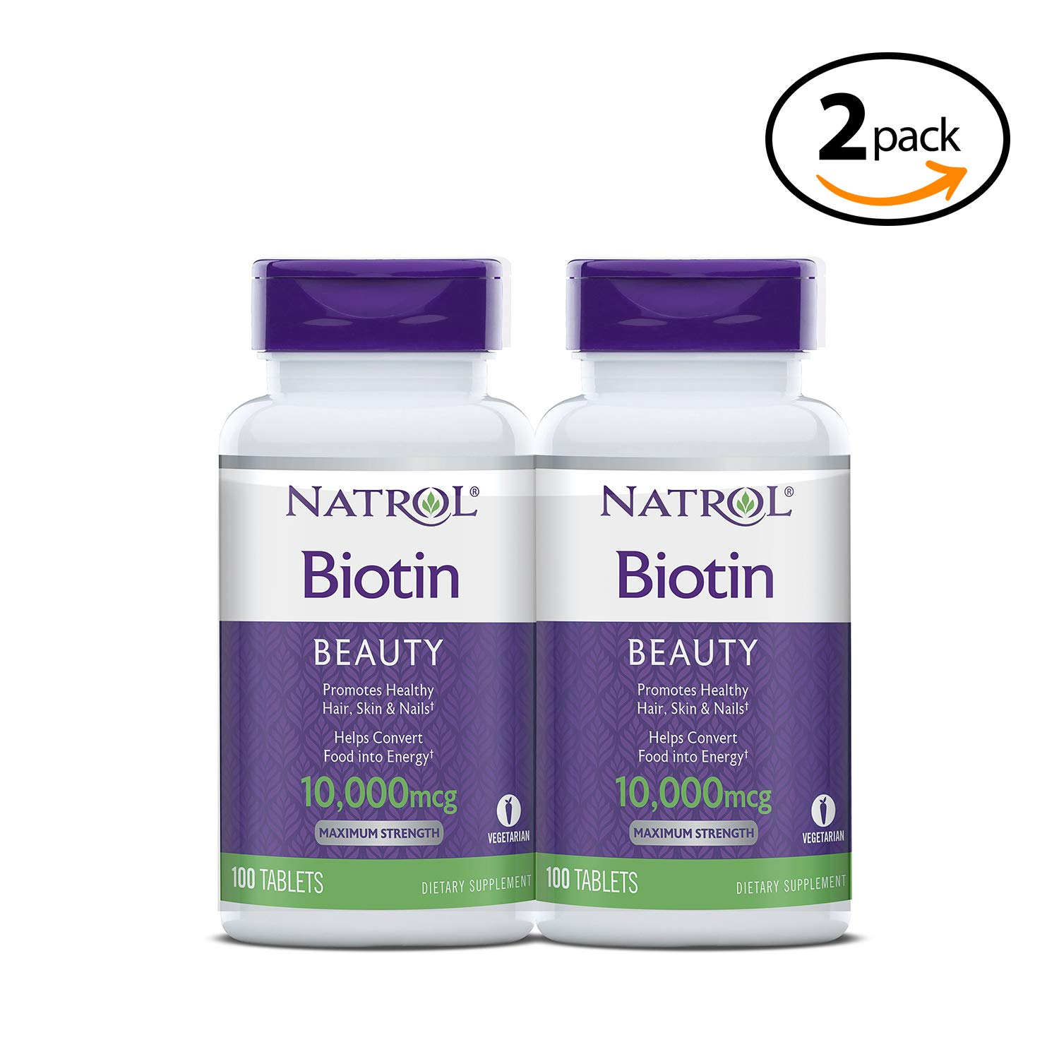 Biotin Beauty Tablets, Promotes Healthy Hair, Skin and Nails, Helps Support Energy Metabolism, Helps Convert Food Into Energy, Maximum Strength, 10,000mcg, 100 Count Pack of 2 2-Pack