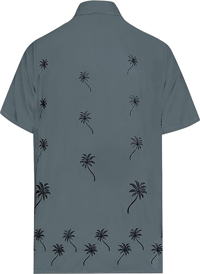 LA LEELA Casual Hawaiana Camisa para Hombre Señores Manga Corta Bolsillo Delantero Surf Palmeras Caballeros Playa Aloha 5XL-(in cms):167-172 Gris_W844: Amazon.es: Ropa y accesorios