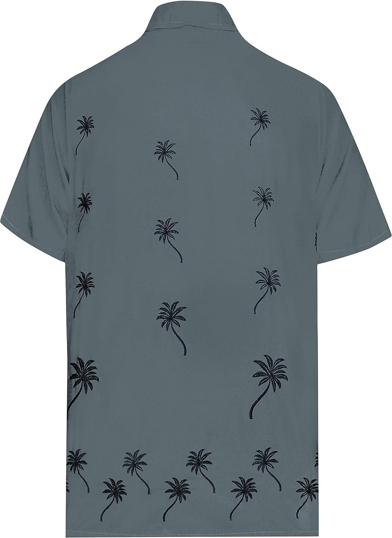 LA LEELA Rilassato Fit Aloha Hawaii Maniche Corte degli Uomini Rayon Camicia Hawaiana Sciolto