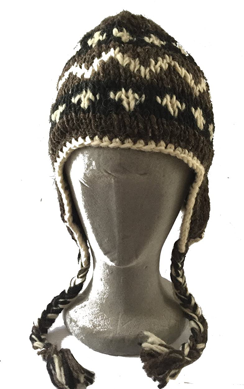 Black, White & Brown Traditional Tibetan Design Earflap Hat - Fleece lined for extra warmth and comfort - Fair Trade Hand Knitted 100% Wool black / white tibetan earflap hat