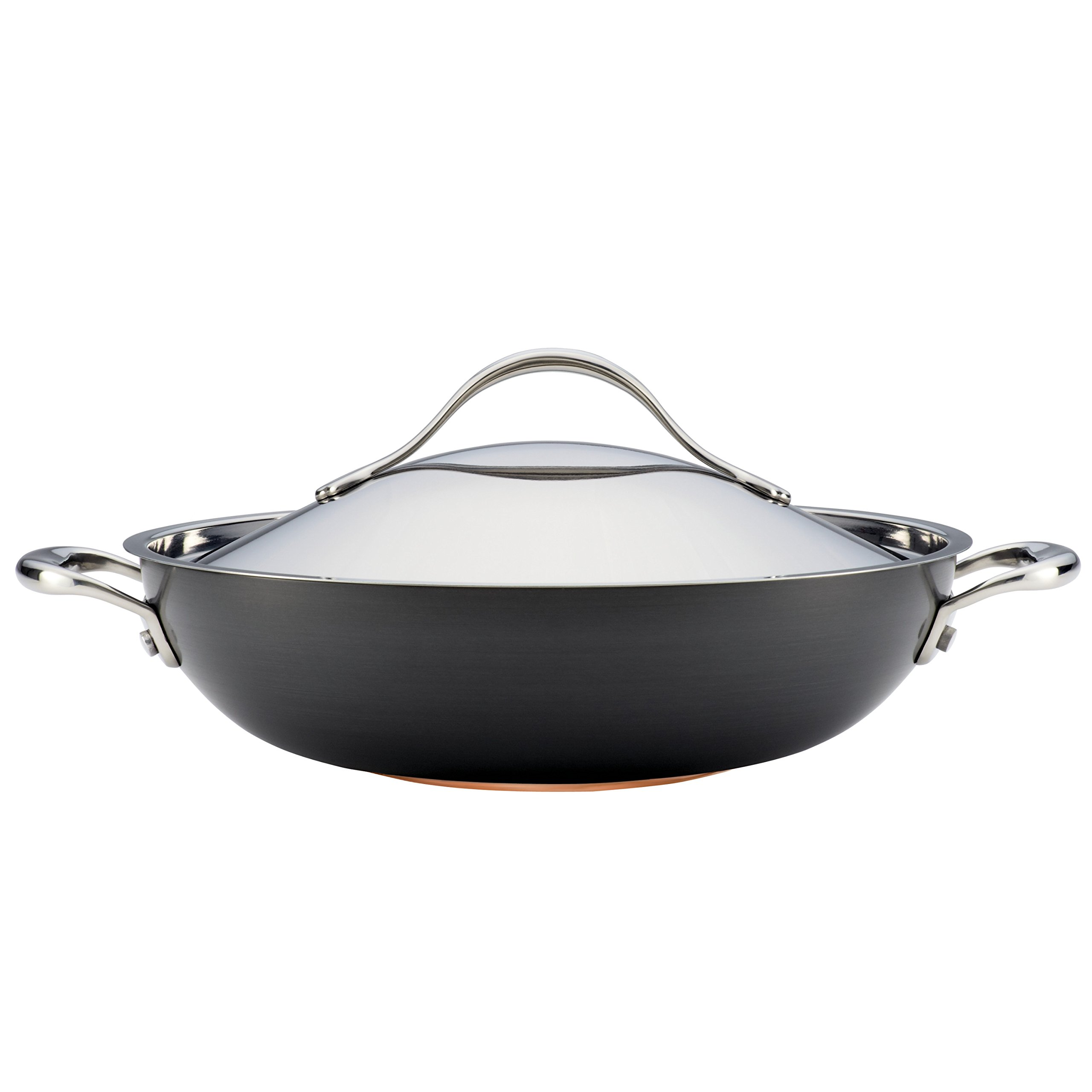 Anolon Nouvelle Copper Hard-Anodized Nonstick 12-Inch Covered Wok, Dark Gray