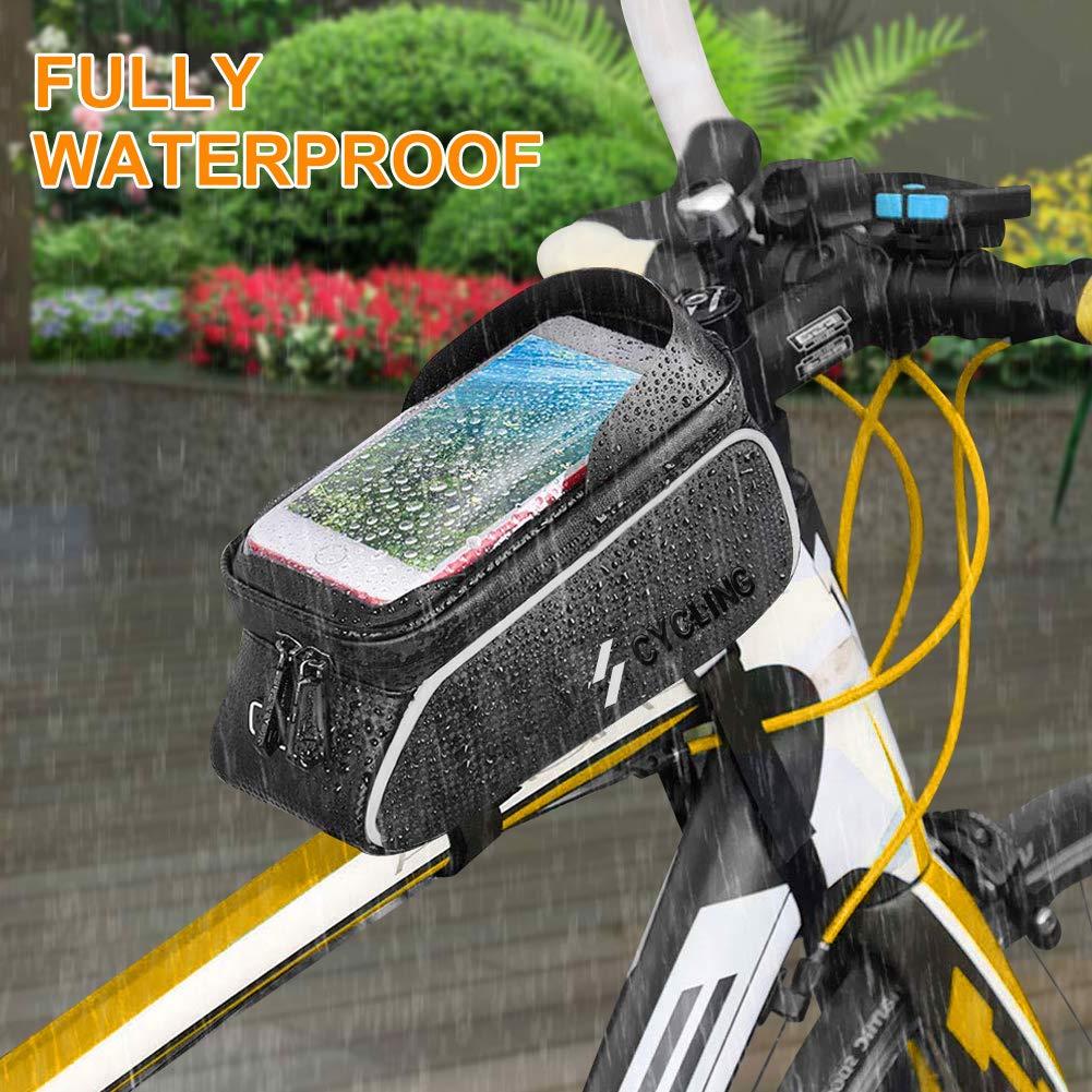 YEHOBU Bicycle Bag for Phone, Handlebar Bag, Bike Front Frame Storage Bag, Sun Visor Waterproof Touch Screen Bag, Cycling Holder Bag for 6 inches Phone (Black)