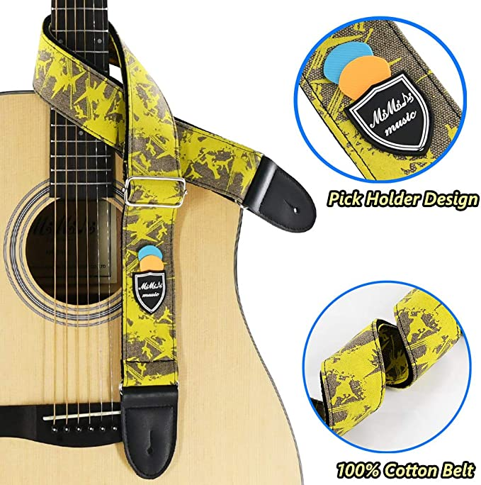 Adult Guitar Beginner Music Enthusiast for Children Adults Shoulder Strap yellow Artificial Leather Adjustable Guitar Strap