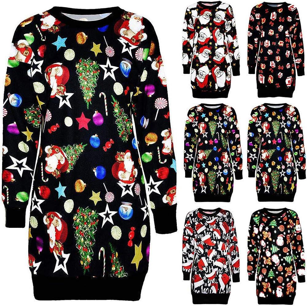 Yivise Womens Christmas Pullover Sweatshirt Long Sleeve O Neck Vintage Party Xmas Mini Dress