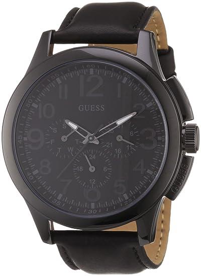 Guess Journey W11585G1 - Reloj cronógrafo de cuarzo para hombre, correa de cuero color negro