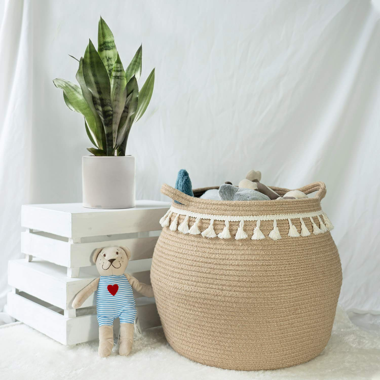 Toys 12 Open Diameter x 12.6 Height Decorative Woven Storage Basket Boho Laundry Basket for Blanket Clothes Plants CherryNow Wicker Basket Sturdy Jute Cotton Rope Belly Basket with Tassel