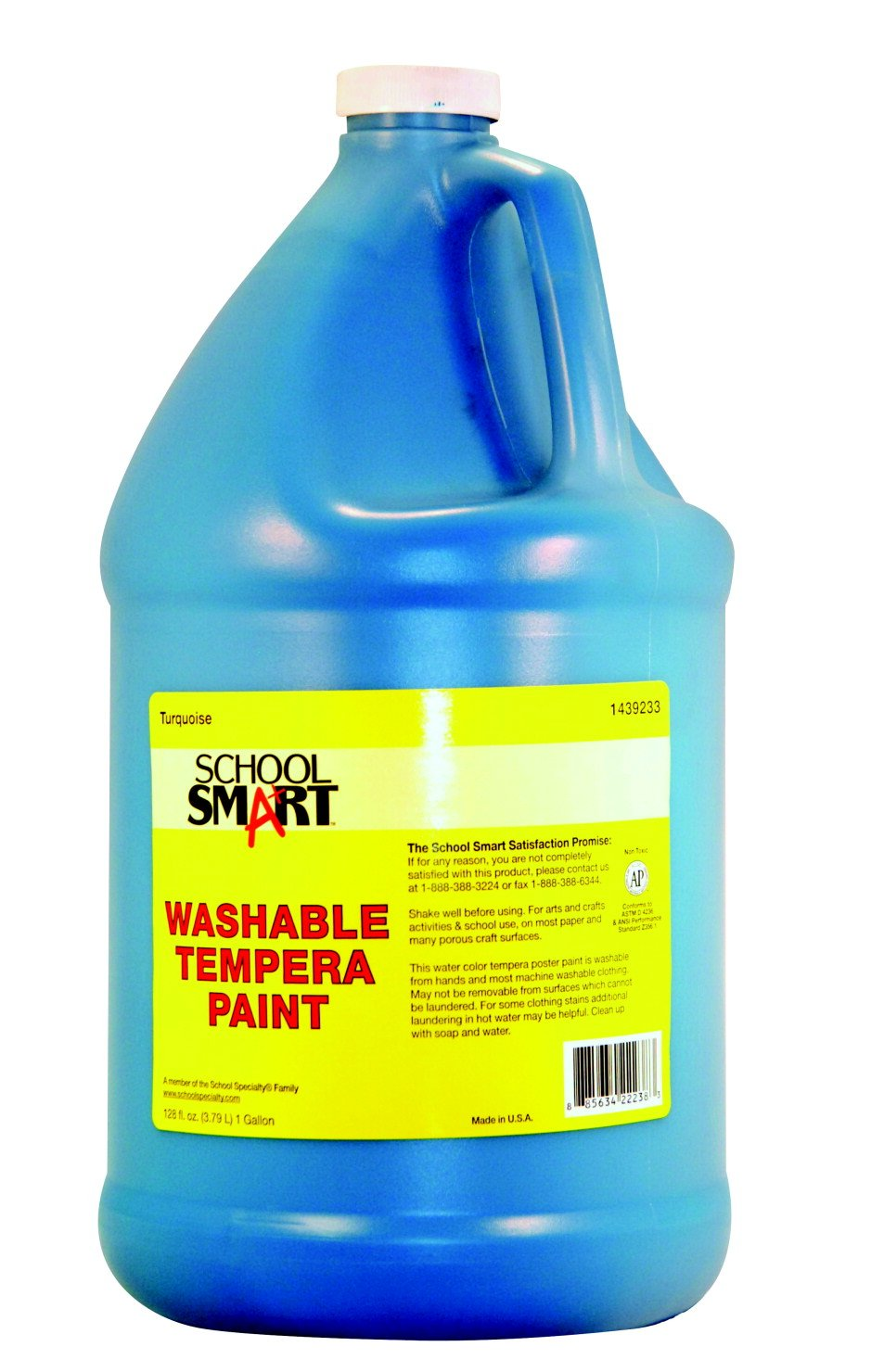 School Smart 1 Gal. Non-Toxic Washable Tempera Paint, Turquoise   B00BD602OY