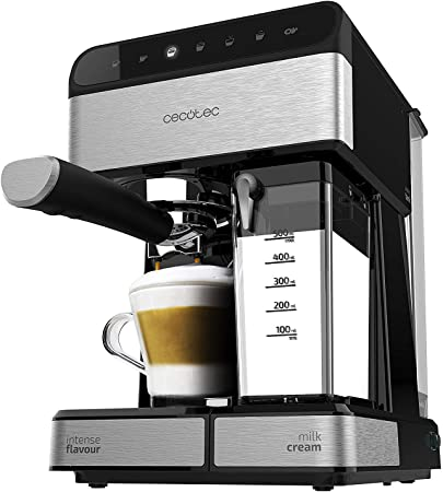 Cecotec Cafetera Semiautomatica Power Instant-ccino Touch Serie Nera. Presión 20 Bares, Capacidad de 1,4l, 6 Funciones, Calentador por Thermoblock, Control Táctil, Tanque de leche, 1350 W: Amazon.es: Hogar