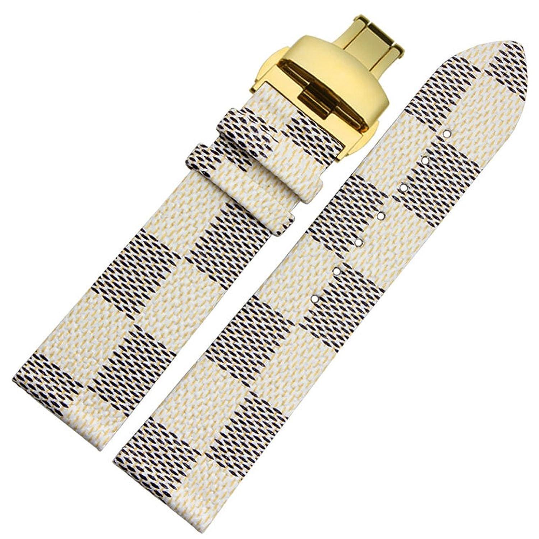 MSTRE 22 mmユニセックスカーフスキンレザー腕時計バンド交換用ストラップfor Burberry Watches  B075M3XHFL
