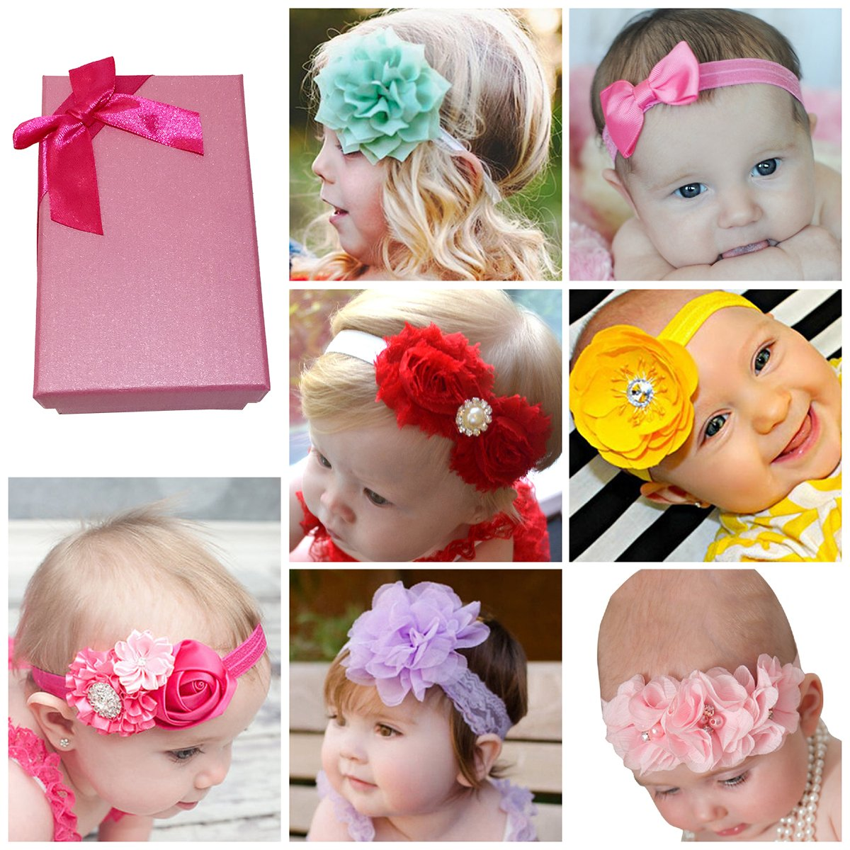 Elesa Miracle Hair Accessories Lovely Baby Girl's Gift Box with Chiffon Lace Hair Bow Flower Headband (7 different style set 3)