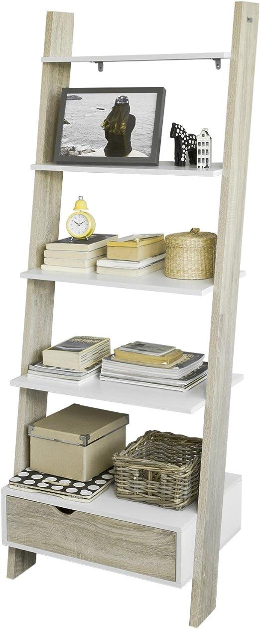 SoBuy Estanterías Librerias, Biblioteca de Almacenamiento en Rack 5 Estantes con 1 Armario Moderno, FRG112-WN, ES: Amazon.es: Hogar