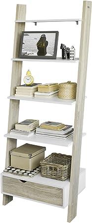 SoBuy FRG112-WN - Estantería, diseño escalera, con 4 estantes y cajón: Amazon.es: Hogar
