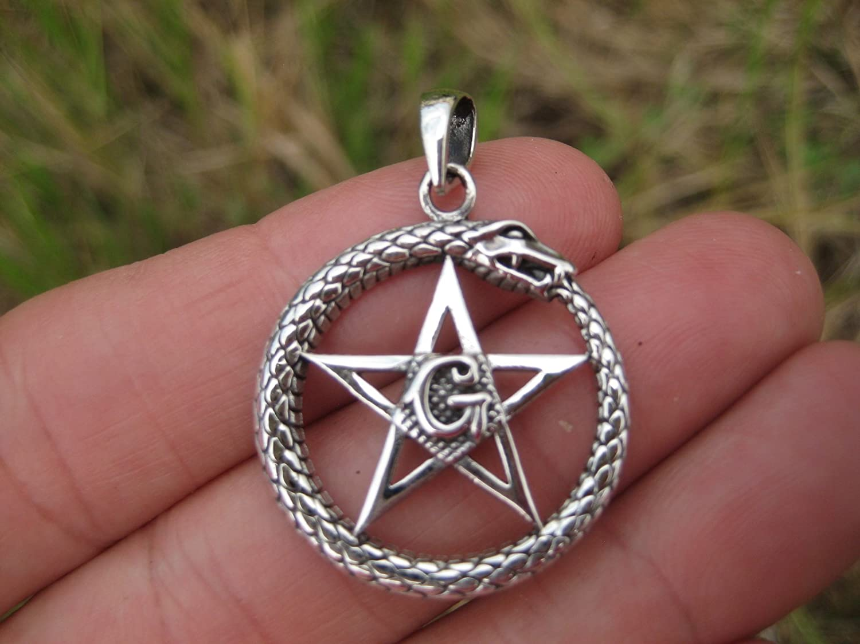 925 Sterling Silver Snake Pentagram Pentacle Free Mason Illuminati pendant A5