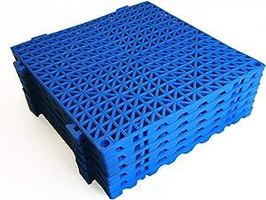 VinTile Modular Interlocking Cushion Floor Tiles Mat Non-Slip with Drainage Holes for Pool Shower Locker-Room Sauna Bath Deck Patio Garage Wet Area Mat (Pack of 6 Tiles - 11-3/4