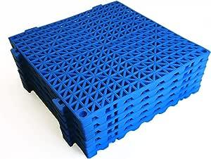 "VinTile Modular Interlocking Cushion Floor Tile Mat Non-Slip with Drainage Holes for Pool Shower Locker-Room Sauna Bathroom Deck Patio Garage Wet Area Matting (Pack of 6-11-3/4"" x 11-3/4"", Blue)"