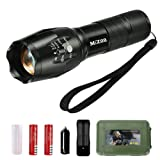 MIZOO LED Flashlight Zoomable Tactical Flashlight Kit with 5 Modes of Bright and Rechargeable Battery Portable Torch Lamp