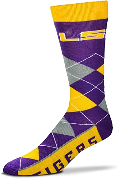 10-13 For Bare Feet Mens NCAA 4-Square Mismatch Dress Socks-Size Large