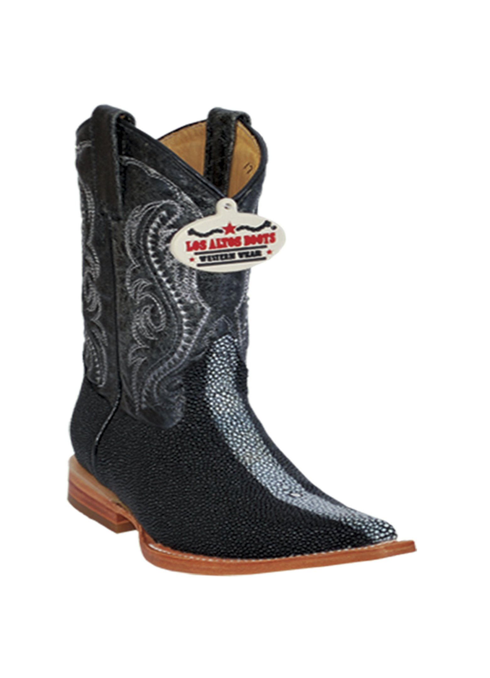 Kid's 3X-Toe Black Genuine Leather Original Stingray Rowstone Finish Skin Western Boots
