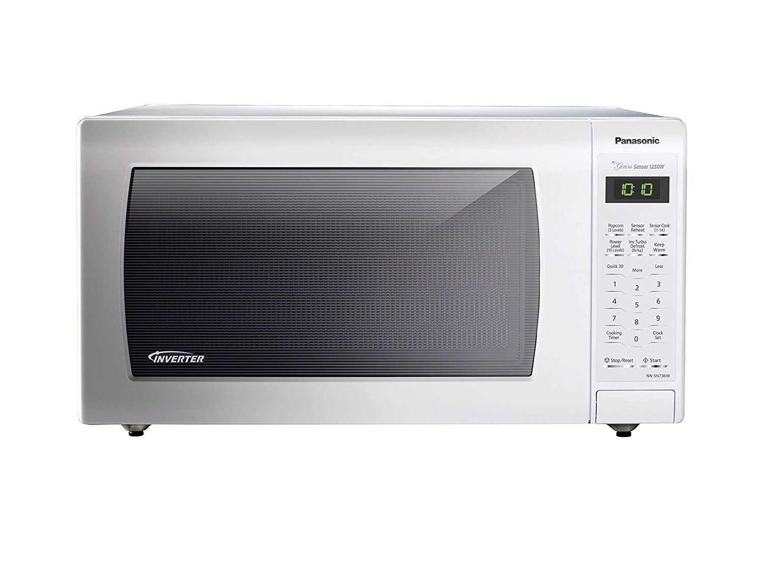 Microwave Oven Compact Countertop Panasonic Electric White 1250 Watt 1.6 cu. ft. Inverter Cookware
