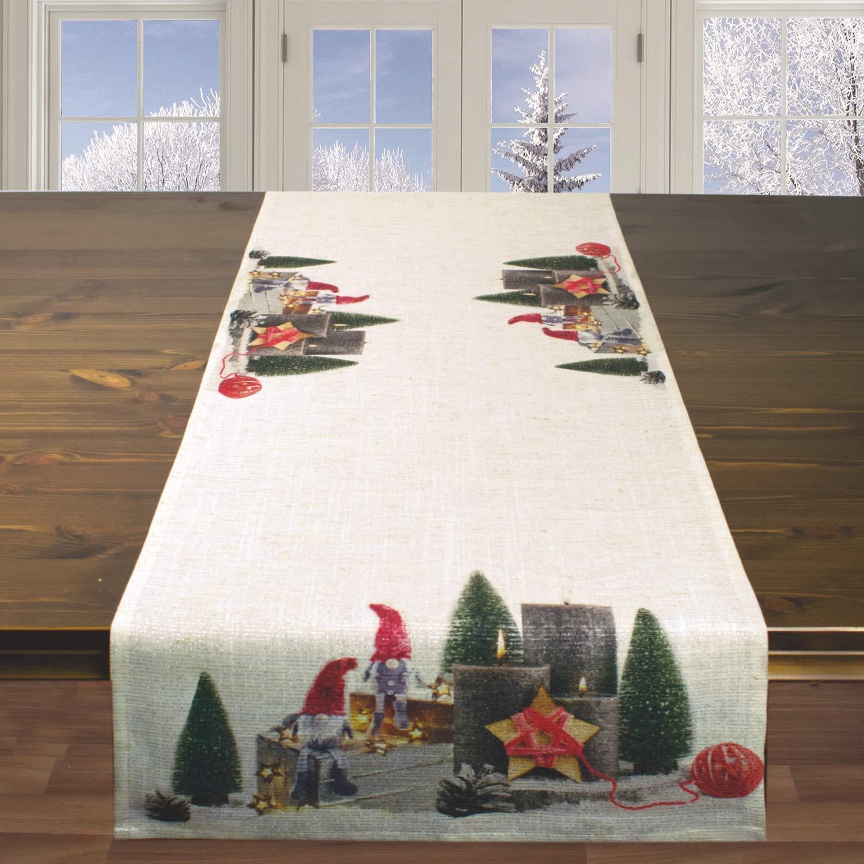 40x140 cm Runner da tavola natalizio GNOMO multicolore per Natale